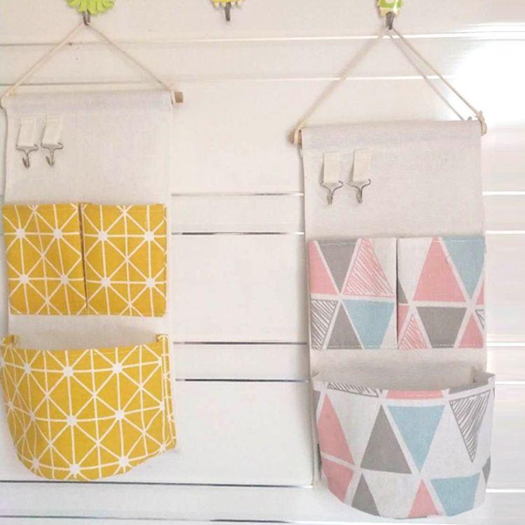 夏季流行挂袋 日式棉麻收纳挂袋整理挂袋简约二兜挂袋