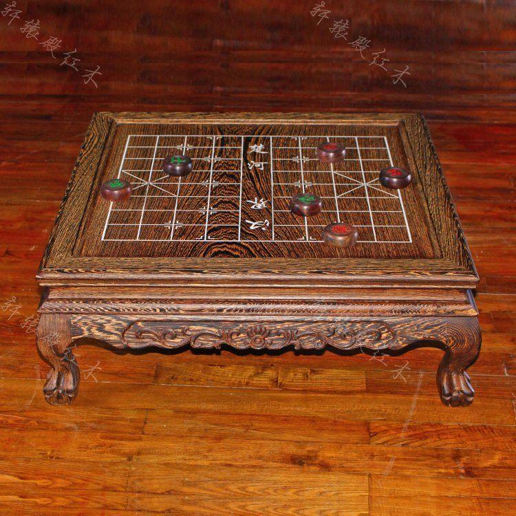 实木中式象棋盘桌鸡翅木虎脚象棋桌休闲飘窗榻榻米炕几茶几方桌子