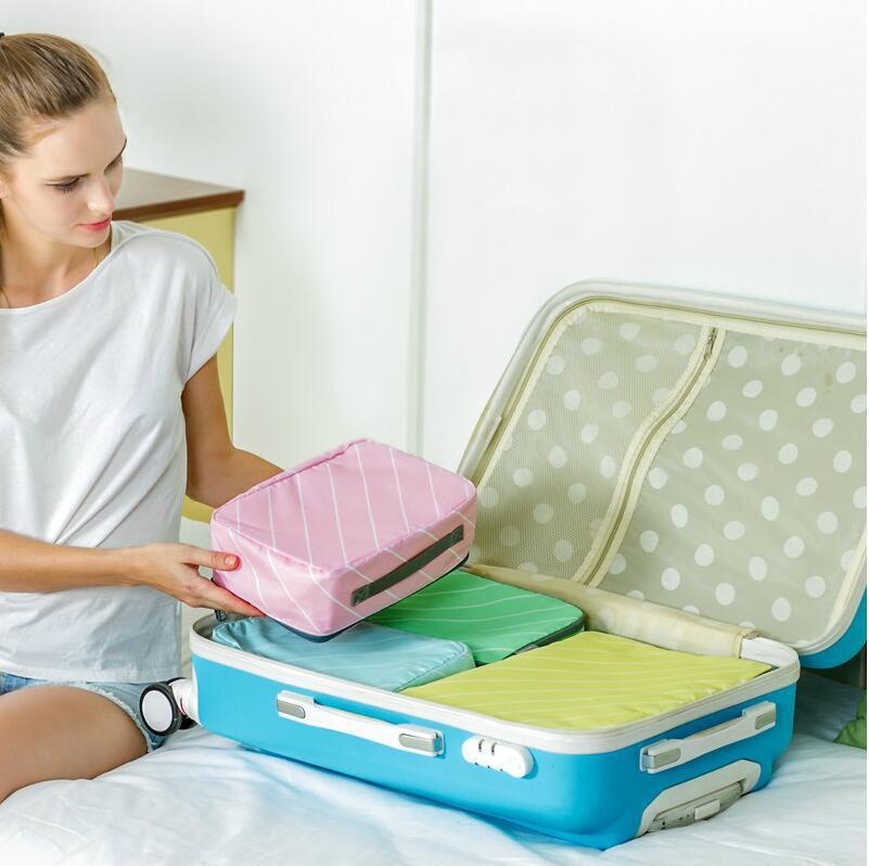 【大量现货】进口面料 马卡龙色斜纹旅行套装衣物收纳袋 整理袋