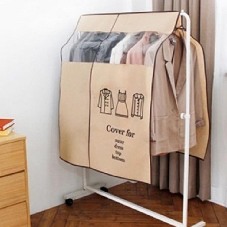 可视透明防尘罩 衣柜衣服加厚无纺布挂式 黑色防尘罩遮灰尘罩子