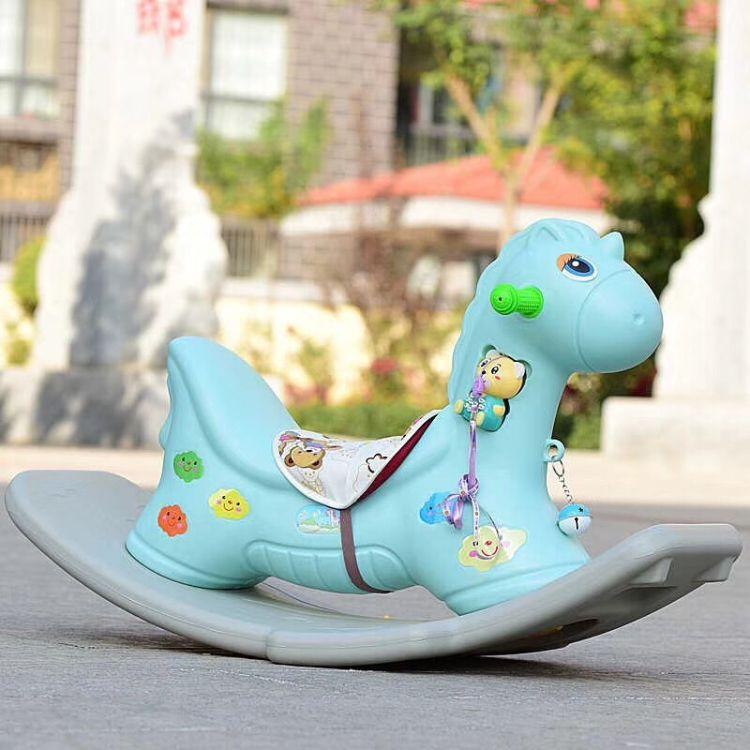 加厚滑行车儿童摇马宝宝座椅两用摇摇马二合一两用椅音乐塑料木马