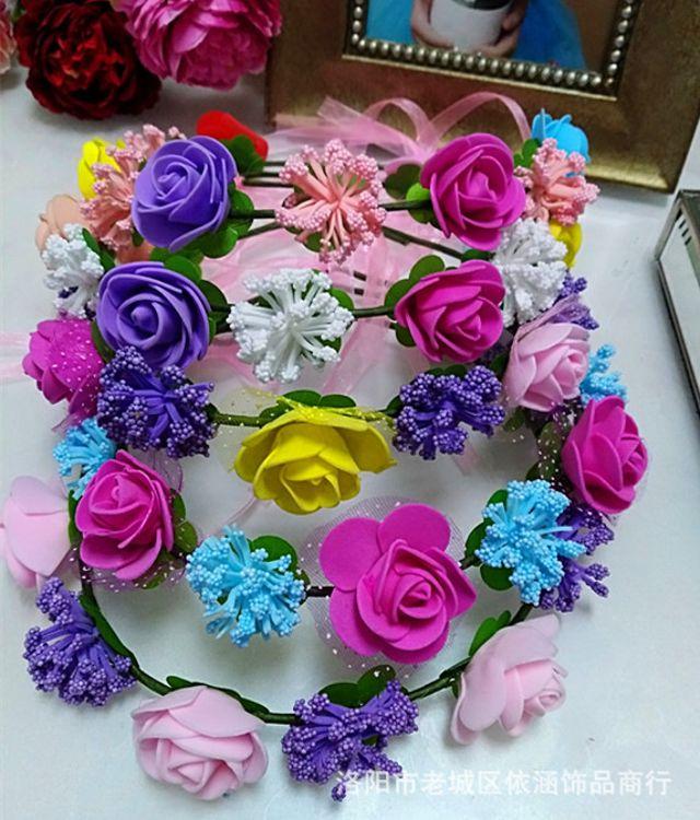 泡沫玫瑰花环  庙会景区跑量头饰  波西米亚风格花环