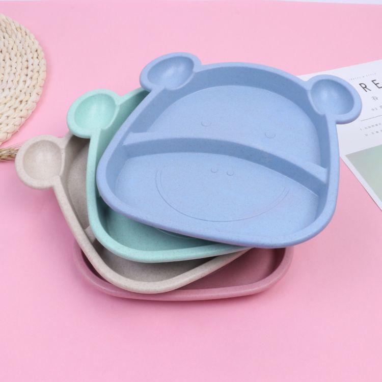 宥彤宝贝河马餐盘可爱小熊餐盘小麦分格叉勺套装创意家用餐具宝宝