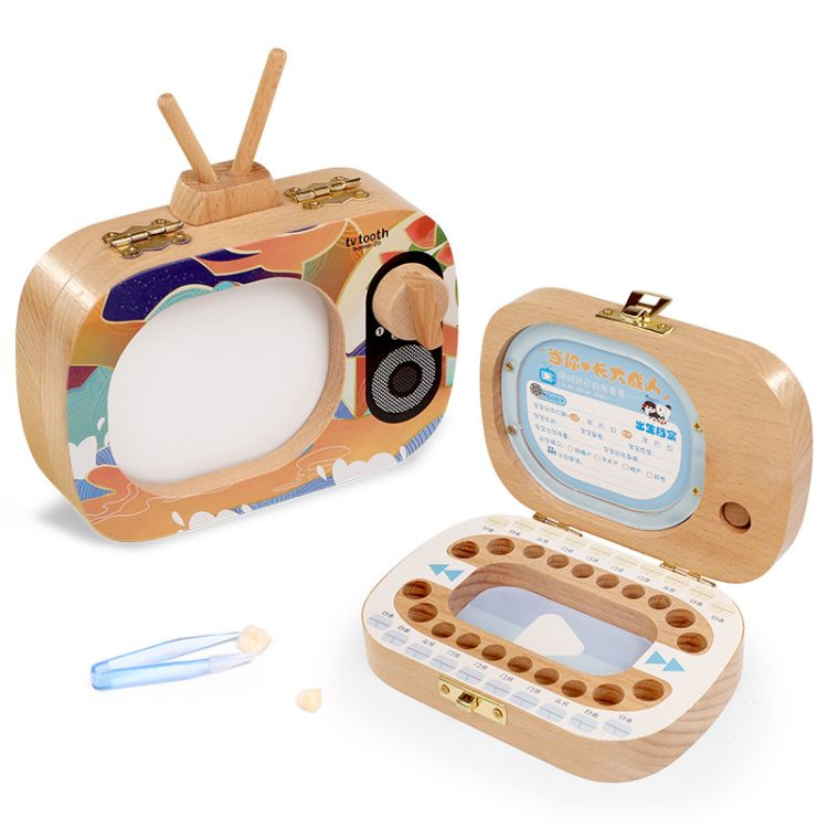 儿童乳牙纪念盒女孩换掉牙齿收藏盒木制乳牙盒男孩电视机保存纪念