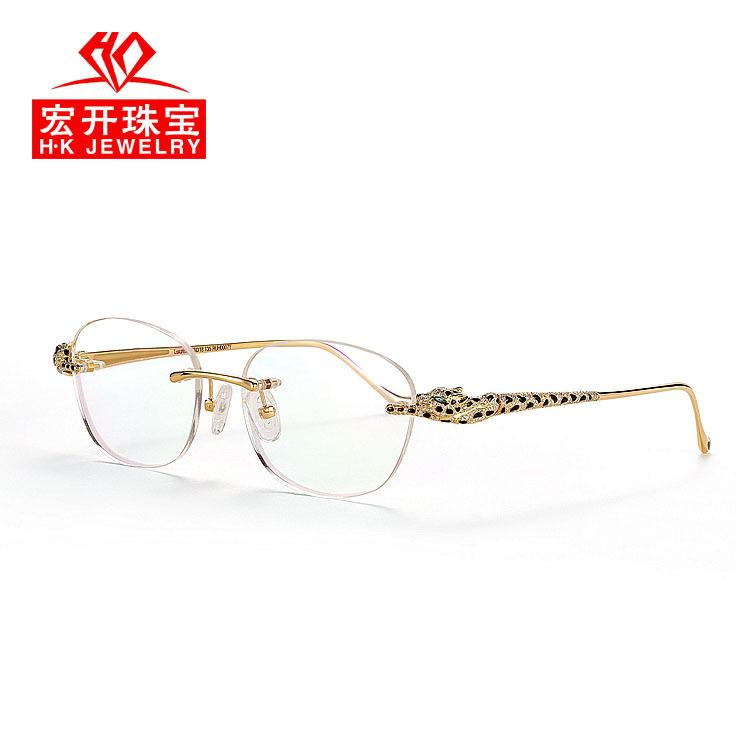 18K黄金眼镜无框架 高端手工镶钻豹头眼镜 男士珠宝礼品RUH0001Y