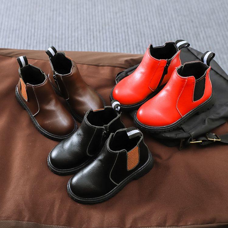 厂家直销秋冬季新款儿童马丁靴防滑耐磨女童短靴韩版休闲男童皮鞋