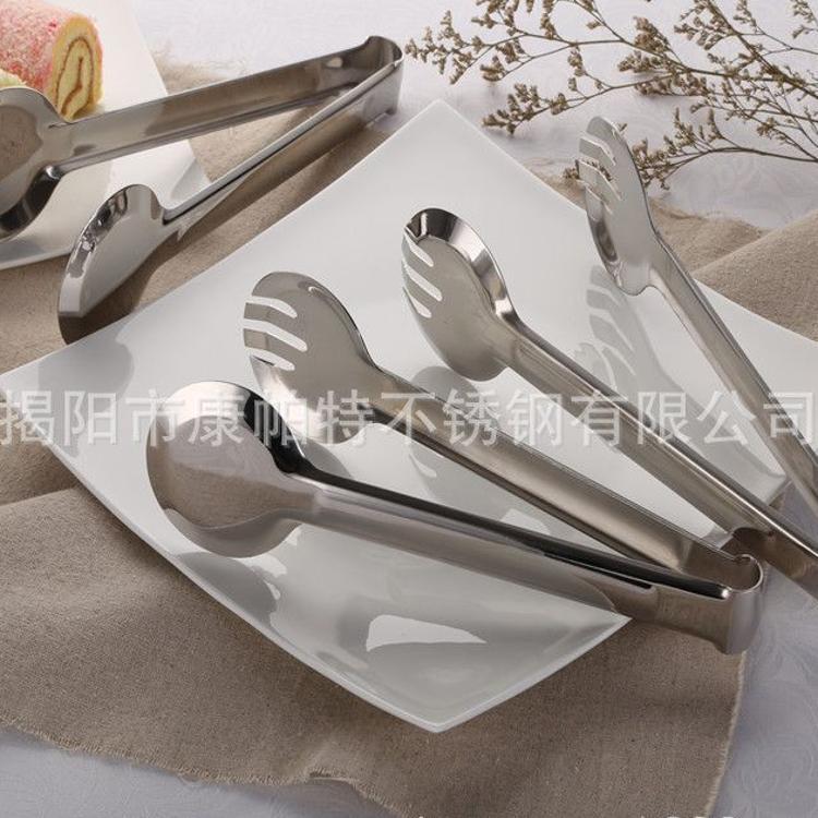 广东揭阳不锈钢烧烤食品面包肉冰夹轻巧简便圆型夹子制造工厂