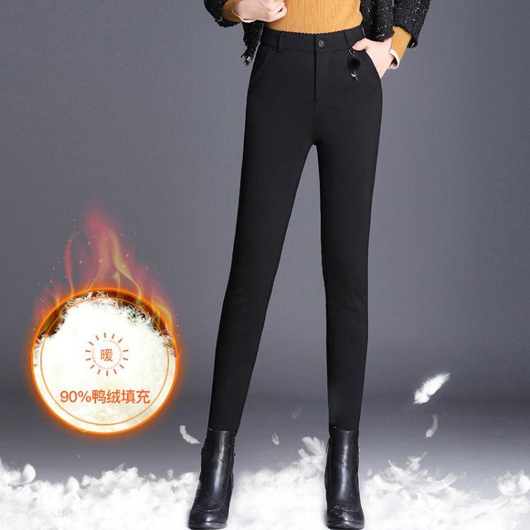 羽绒裤女2018冬季新款韩版修身显瘦高腰弹力保暖裤小脚铅笔裤加大