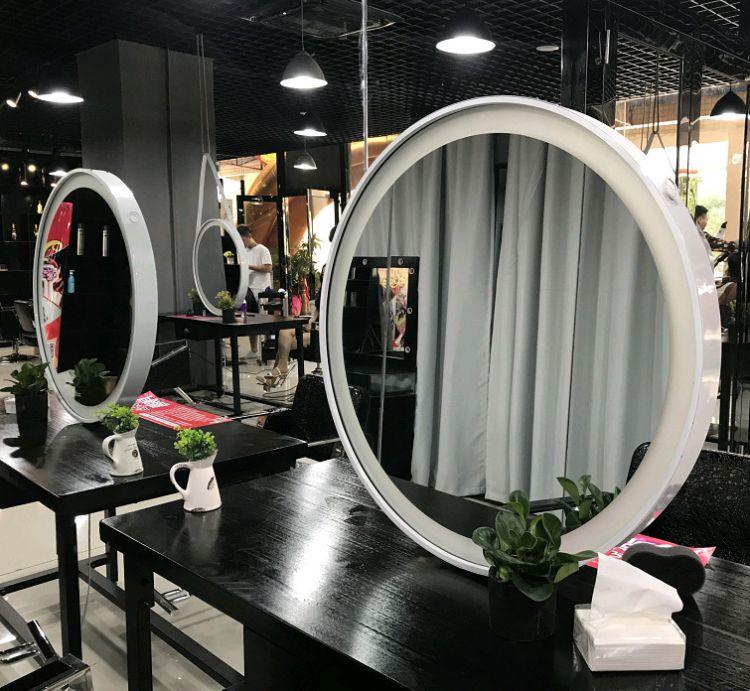 一件代发创意实木发廊美发化妆镜影楼复古圆镜单双面镜理发店双面