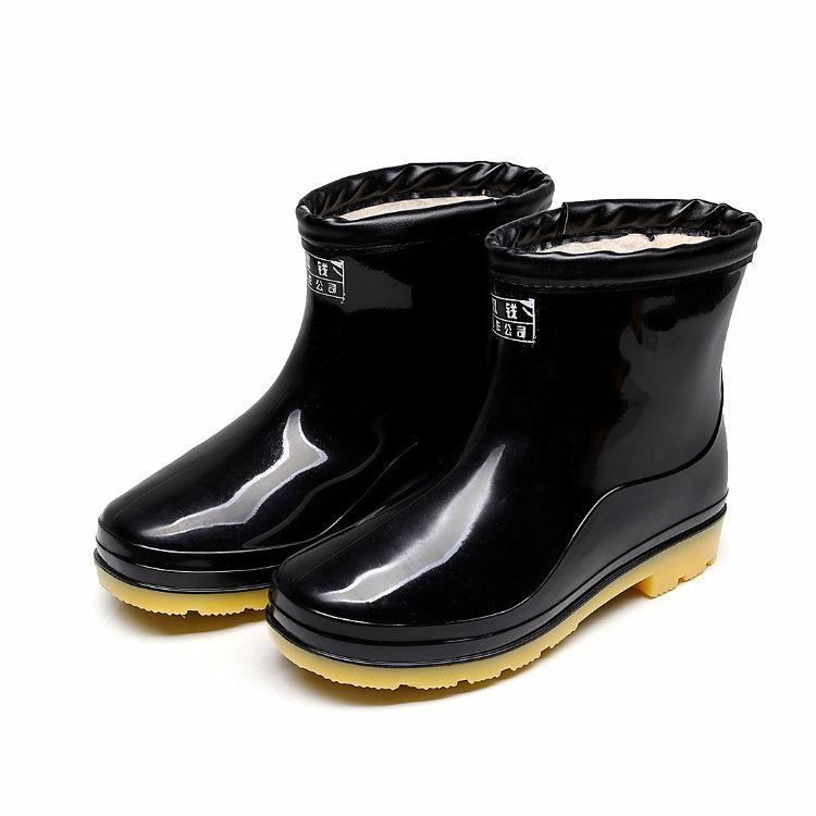 秋冬加厚保暖绒毛雨鞋男士低筒工作水鞋牛筋防滑塑胶短筒实用雨靴