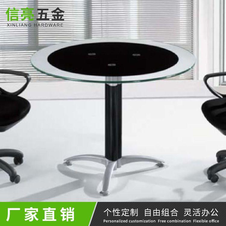 现代时尚圆角休闲玻璃茶几定制  钢化简约玻璃桌不锈钢脚