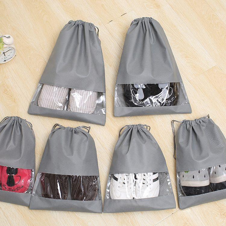 10个装 厂家直销现货无纺布鞋套袋束口防尘袋鞋子收纳袋拉绳袋子