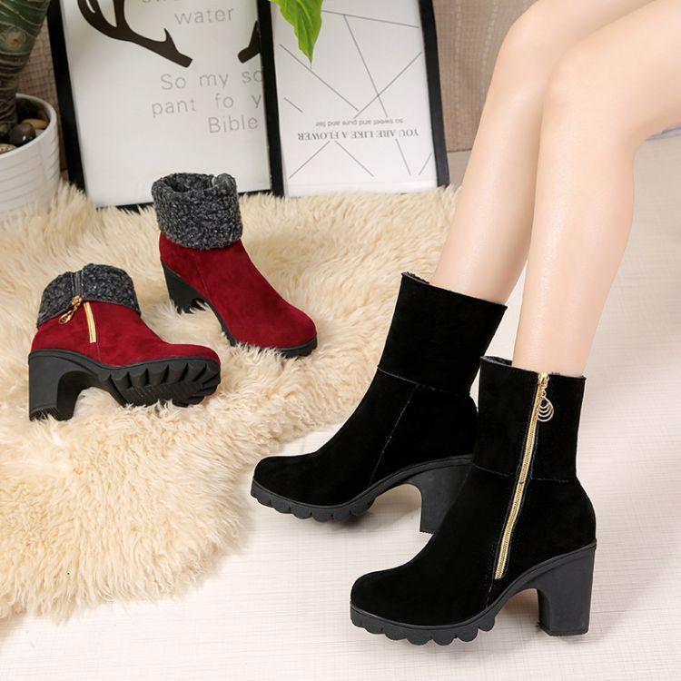 2018冬季两穿棉靴女侧拉链粗跟高跟马丁靴女休闲棉鞋女靴代发批发