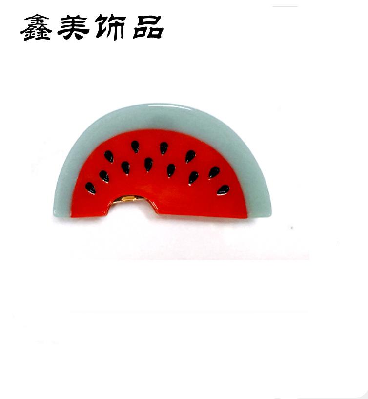 日本醋酸拼接西瓜型发饰抓夹 批发女式大铁爪发爪厂家直销