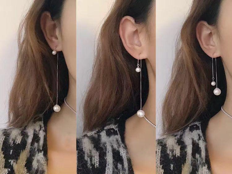 因为遇见你同款时尚珍珠流苏耳钉女925纯银饰品简约气质耳环耳饰