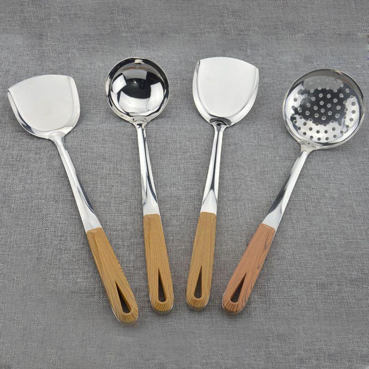 厂家直销不锈钢厨具套装 仿木加长柄 煎炒捞盛烹饪铲勺漏勺