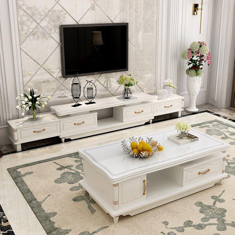 简约现代电视柜茶几套装客厅伸缩烤漆钢化玻璃电视柜茶几组合