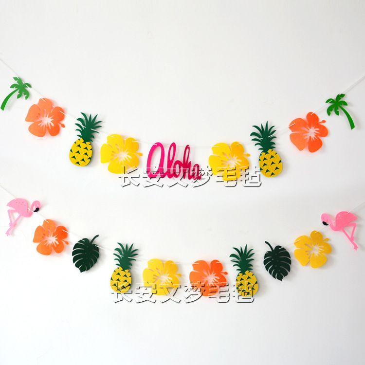 夏威夷火烈鸟装饰拉花菠萝拉旗椰树毛毡彩旗热带雨林菠萝挂旗横幅
