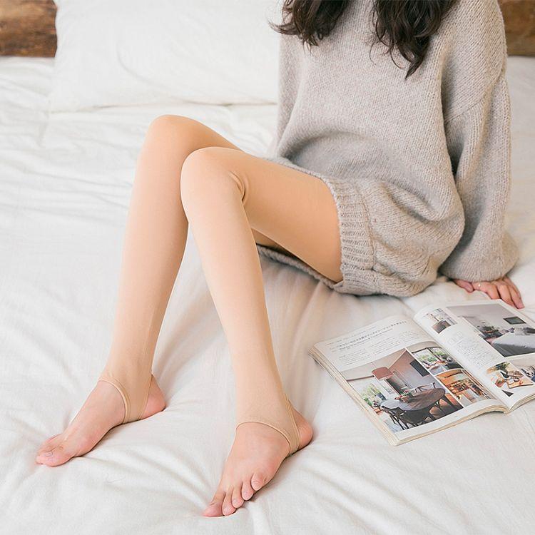 秋冬300克加绒加厚锦纶打底裤高密锦纶抗起球光腿神器一体打底裤