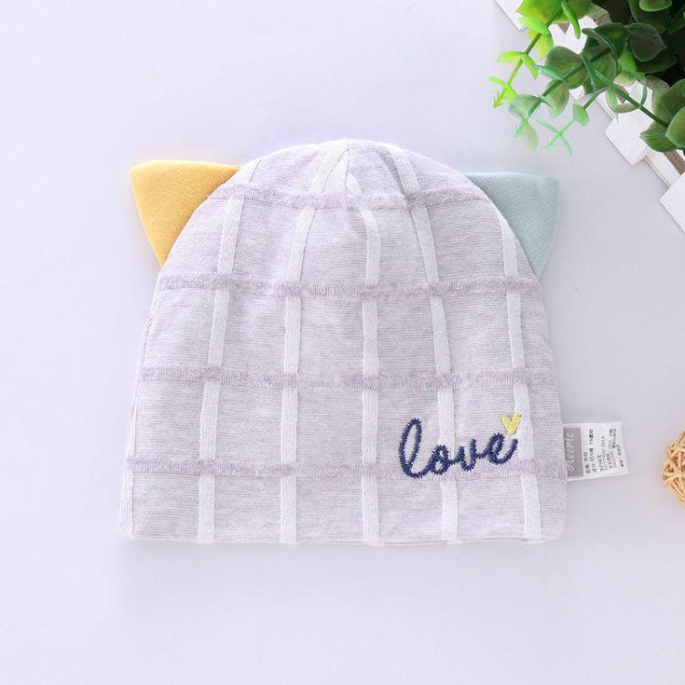 婴儿帽纯棉秋冬新款套头帽0-4个月新生儿胎帽 拉架提花帽子