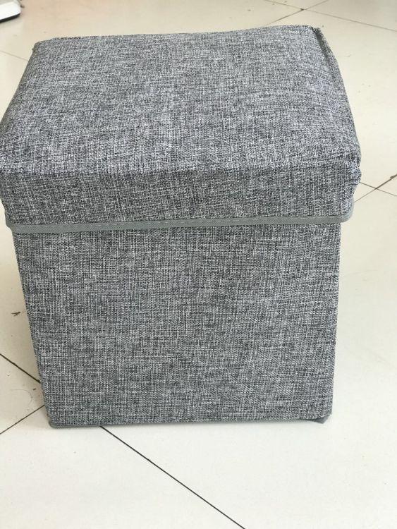 厂家直销麻布收纳凳、四方凳、换鞋凳、可折叠收纳凳