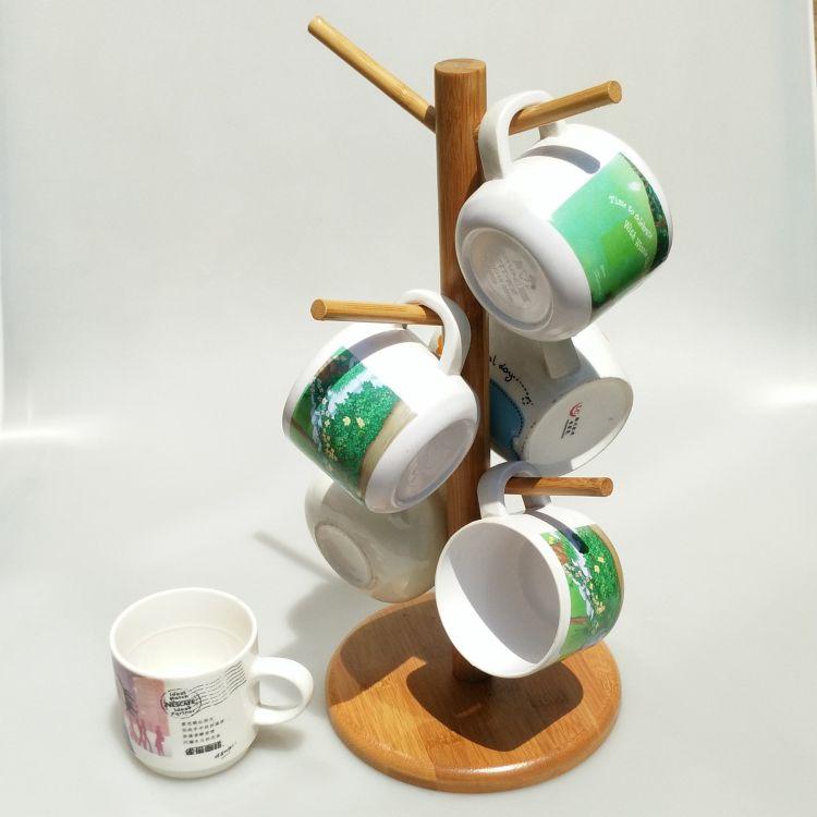 杯架 厂家直销竹木红酒杯架马克杯架 杯子收纳架挂杯架代发货