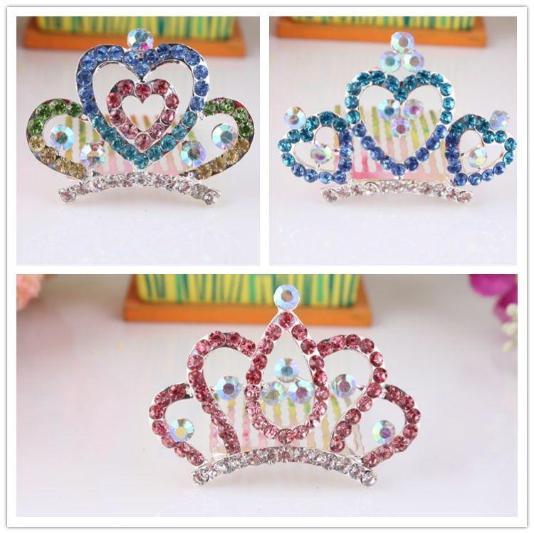 韩国发饰 儿童合金镶钻发梳  多色皇冠插梳 公主舞台演出插梳爆款