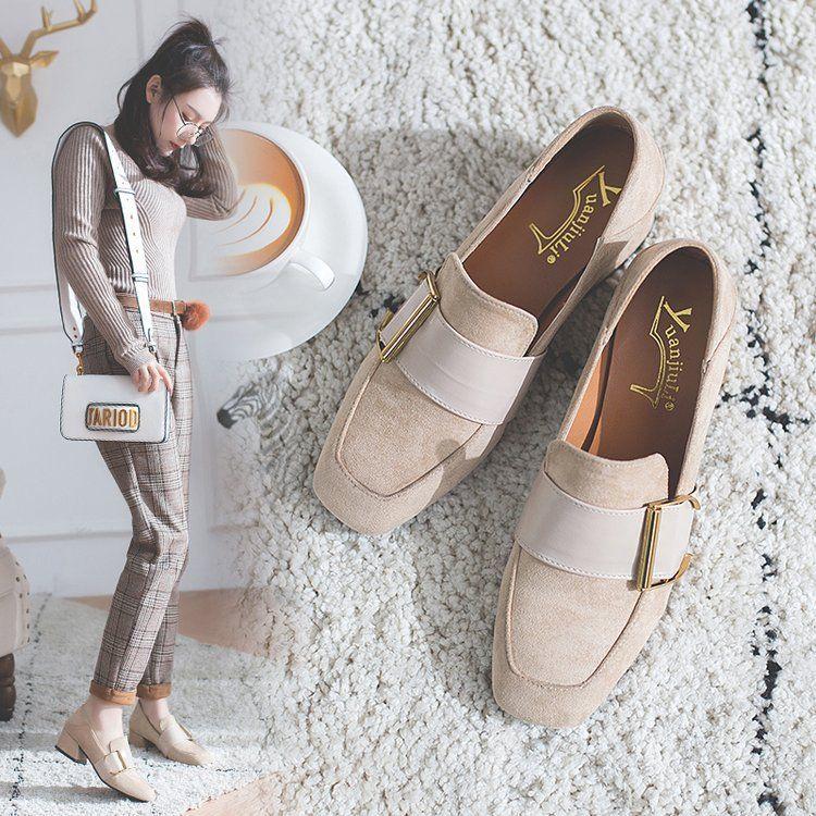 中跟单鞋女2018春季新款韩版百搭金属扣方头中跟复古粗跟玛丽珍鞋