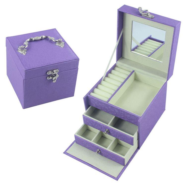 工厂现货批发紫色三层化妆箱带镜片戒指托抽屉翻盖结构印logo