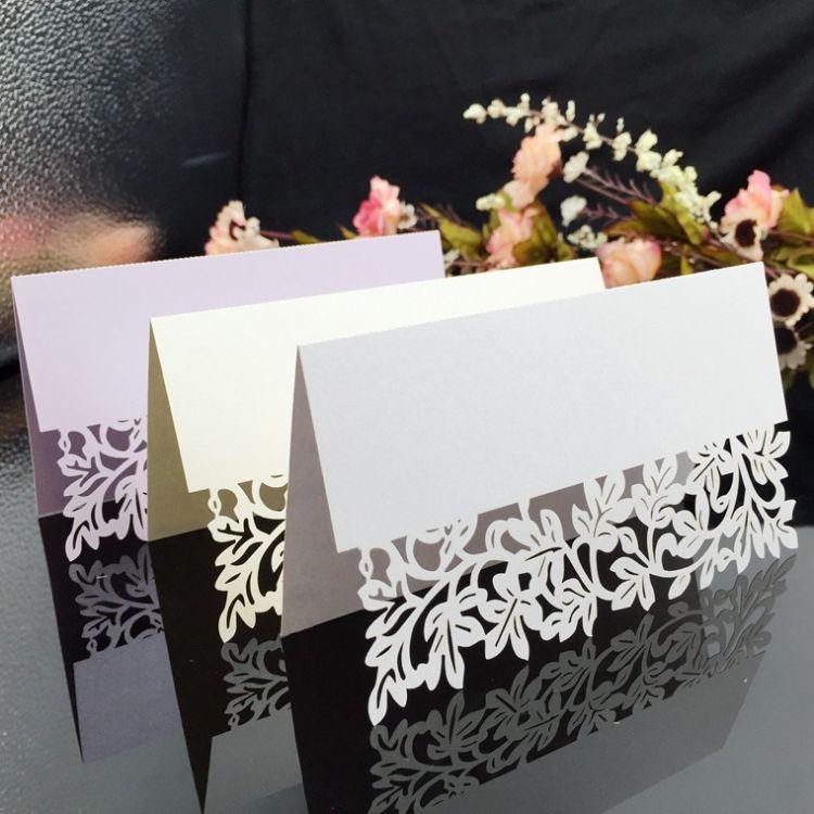 厂家批发席位卡 激光镂空婚庆派对创意欧式桌位卡餐台席位卡