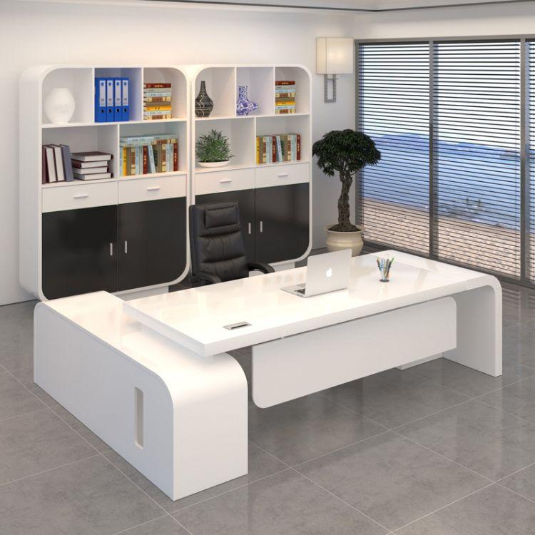 老板桌办公桌 烤漆白色 总裁桌 大班台 主管经理桌椅组合 厂家直销
