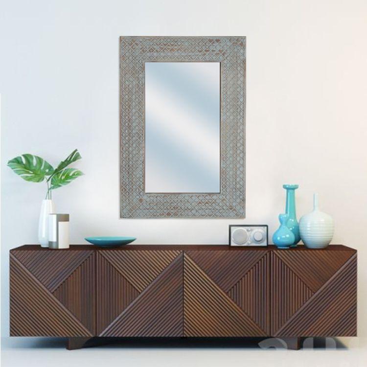 家居化妆镜实木手工雕花创意美式酒店式理发店复古花边梳妆台框镜
