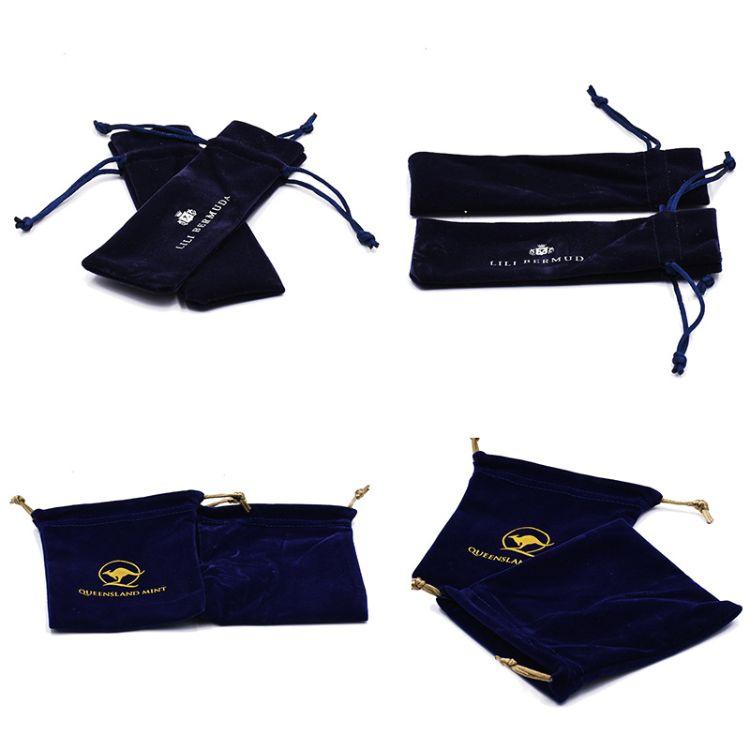厂家批发定做新款蓝色绒布袋束口袋植绒首饰珠宝收纳袋可定制logo