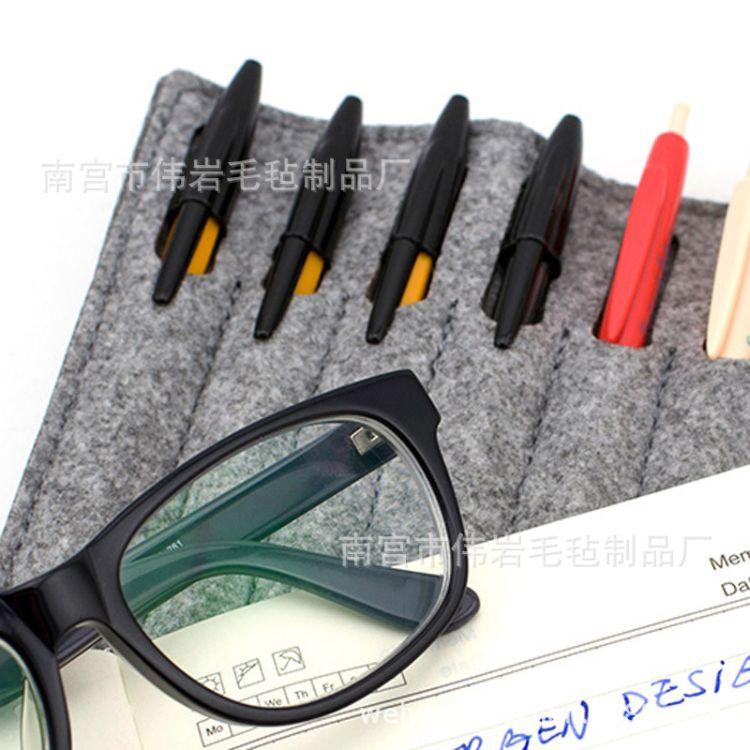 @毛毡大容量钢笔笔袋 @毛毡袋8-11孔钢笔帘文具盒收纳可定制logo