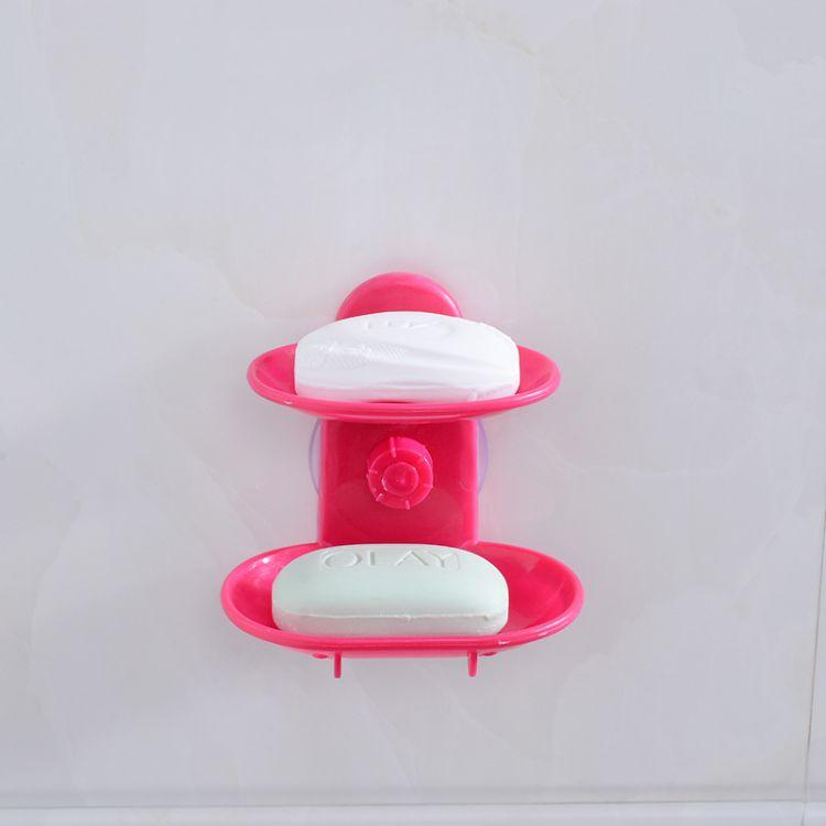 厨房吸盘双层肥皂盒卫生间两层香皂盒肥皂托香皂沥水托沥水器批发