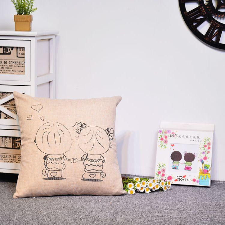 新款创意手涂鸦DIY填色抱枕套汽车手绘靠垫 时尚个性定制一件代发