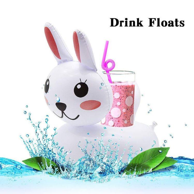 厂家供应pvc充气兔子杯座 水上杯垫漂浮饮料可乐杯托 来图稿定制