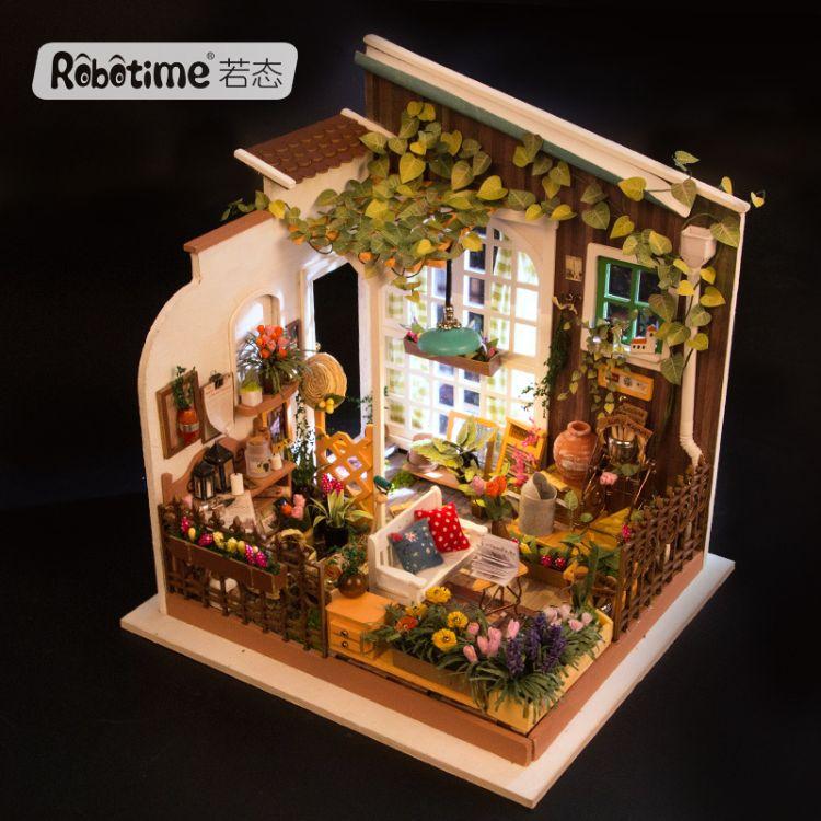 若态DIY小屋3D立体拼图手工拼装小房子模型 创意生日礼物阳光花房