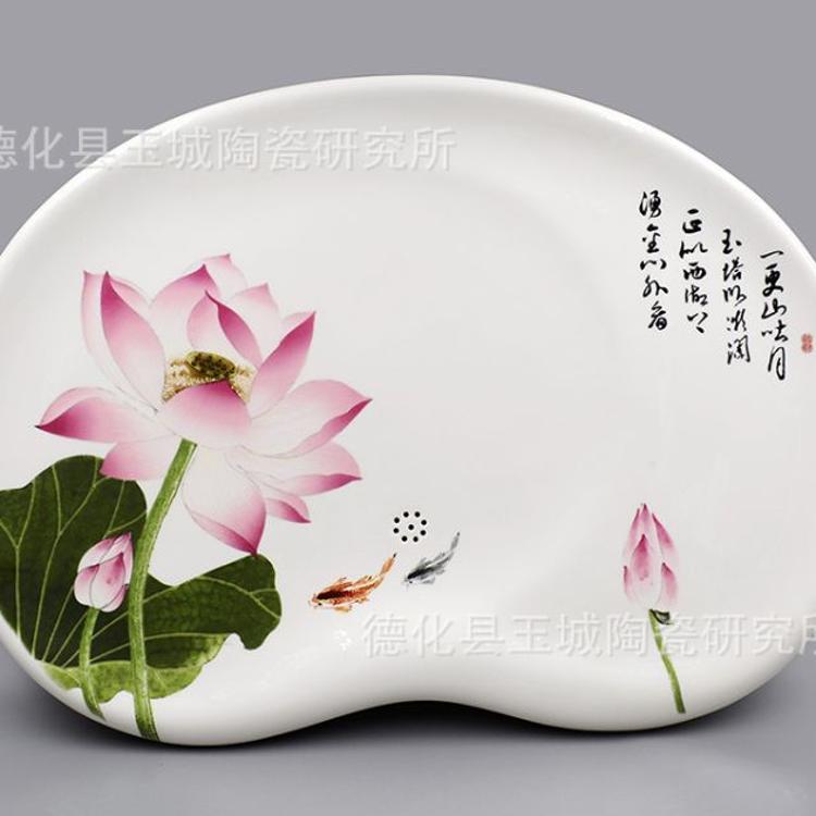陶瓷手绘茶盘 手绘功夫茶具茶台 白釉手绘荷花茶海茶具