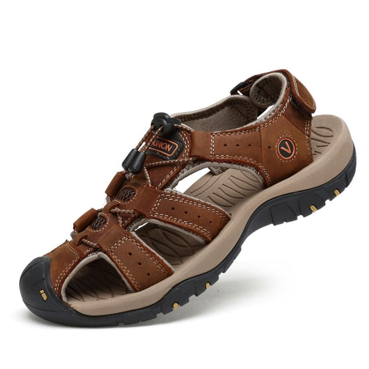 夏季真皮包头皮凉鞋男士户外沙滩鞋涉水溯溪休闲运动头层牛皮