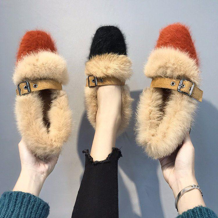 时尚单鞋女毛毛鞋约会必穿气质女保暖冬季新款2018
