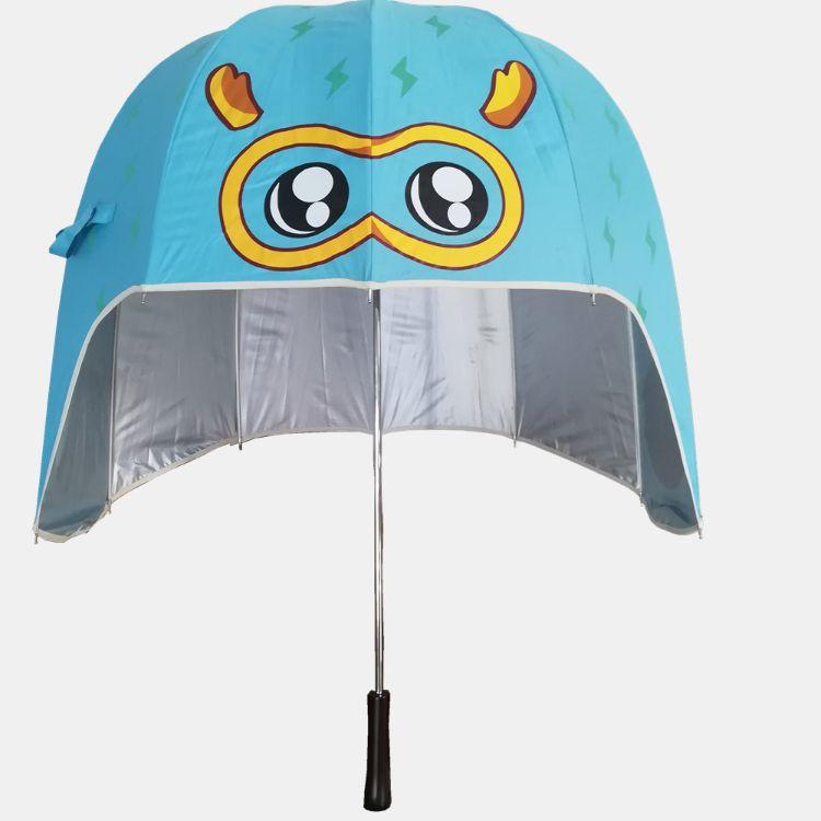 抖音网红雨伞女黑胶防晒卡通防紫外线太阳儿童女款遮阳韩国头盔伞