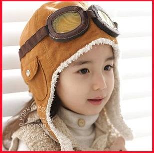 飞行员男女儿童帽子宝宝毛绒帽韩国版秋冬天针织帽护耳帽保暖帽潮
