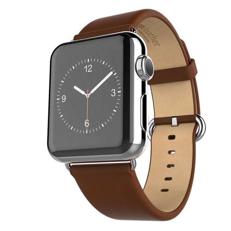 热销数码市场双色优尚腕带厚重质感现货适用苹果真皮表带小牛皮