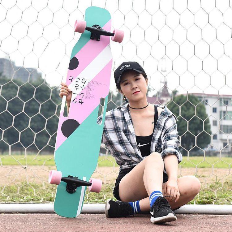 初学者新手刷街成人四轮公路长板双翘青少年男生女生滑板舞板