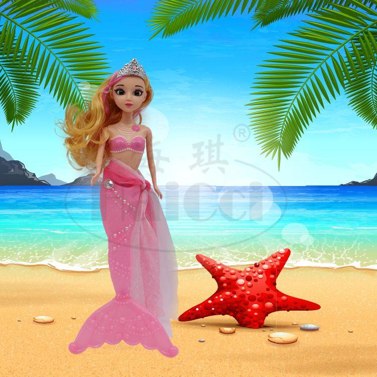新款美人鱼公主塑料玩具3D真眼七彩护眼灯光儿童益智过家家娃娃3