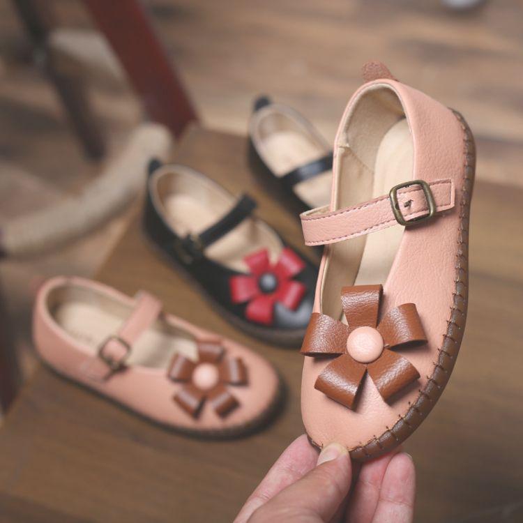 2018秋季新款女童小皮鞋 亚马逊花朵儿童单鞋 韩版女童公主鞋
