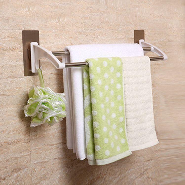 浴室无痕贴不锈钢毛巾架免打孔强力胶双杆浴巾架卫生间无痕毛巾杆
