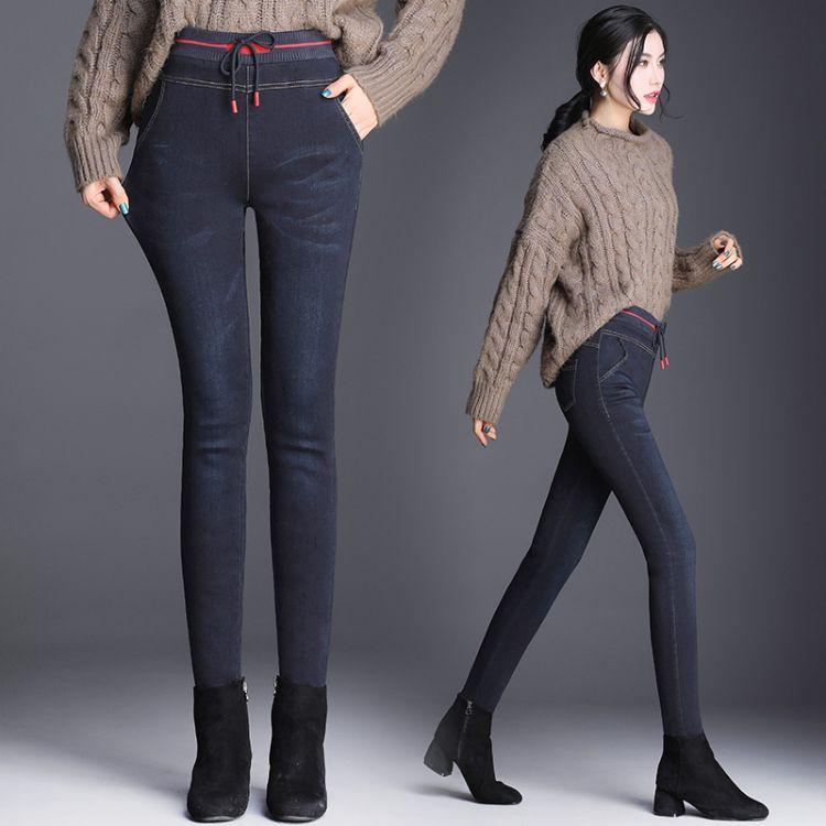 冬款女款加绒羽绒裤2018新款时尚加厚保暖修身羽绒裤一件代发批发