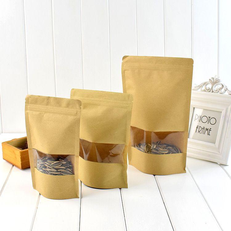 开窗牛皮纸袋自立袋批发 定做自封坚果食品包装袋彩印 100个现货